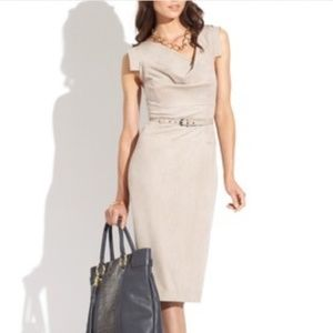 NWT Sharagano faux suede belted cowl neck dress 4